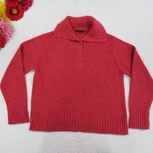 Carolyn Taylor Large Button Cowl Neck Knit Sweater